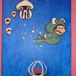 Mario Swimming Capriciously Through the Azure Waltz